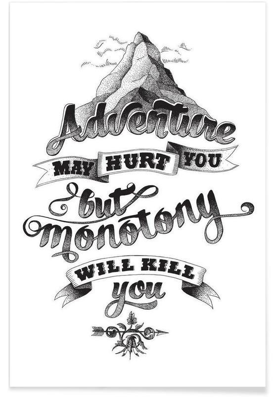 Noir & blanc, Citations et slogans, Adventure hand-lettering affiche