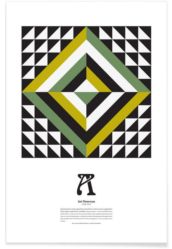 Alphabet et lettres, A - Art Nouveau affiche