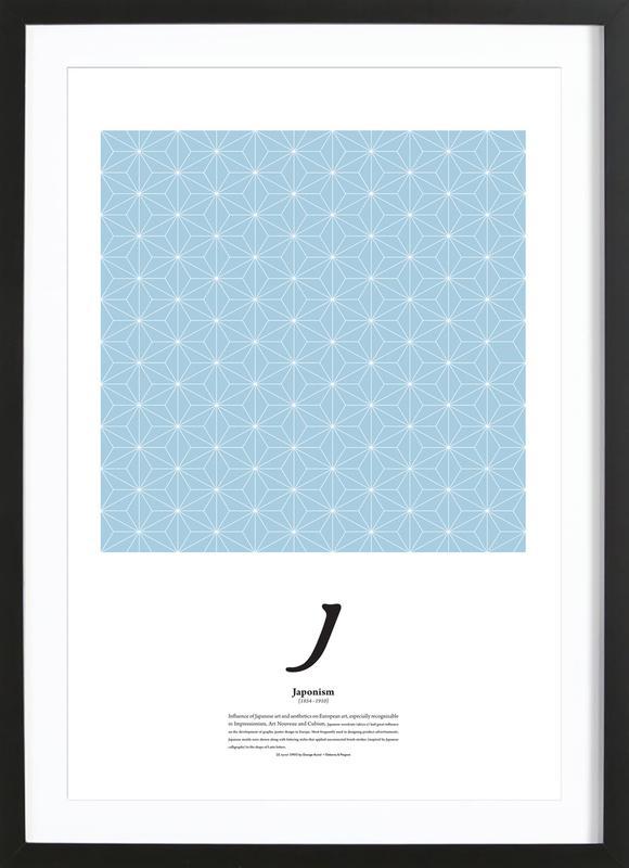 J - Japonism -Bild mit Holzrahmen