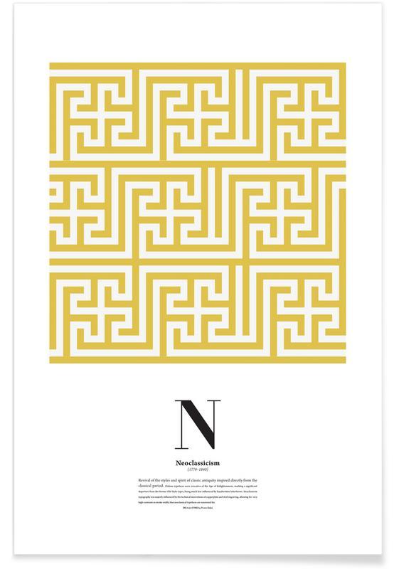 Alfabet en letters, N - Neoclassicism poster