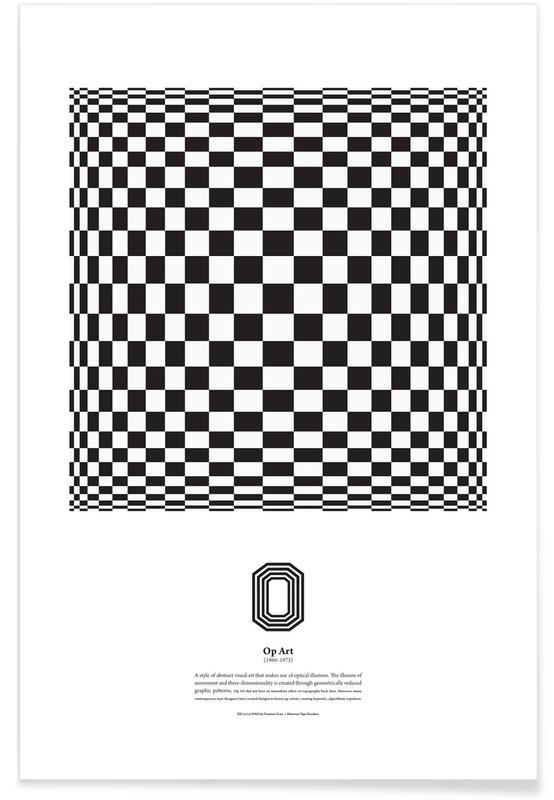 Alfabet en letters, Zwart en wit, O - Op Art poster
