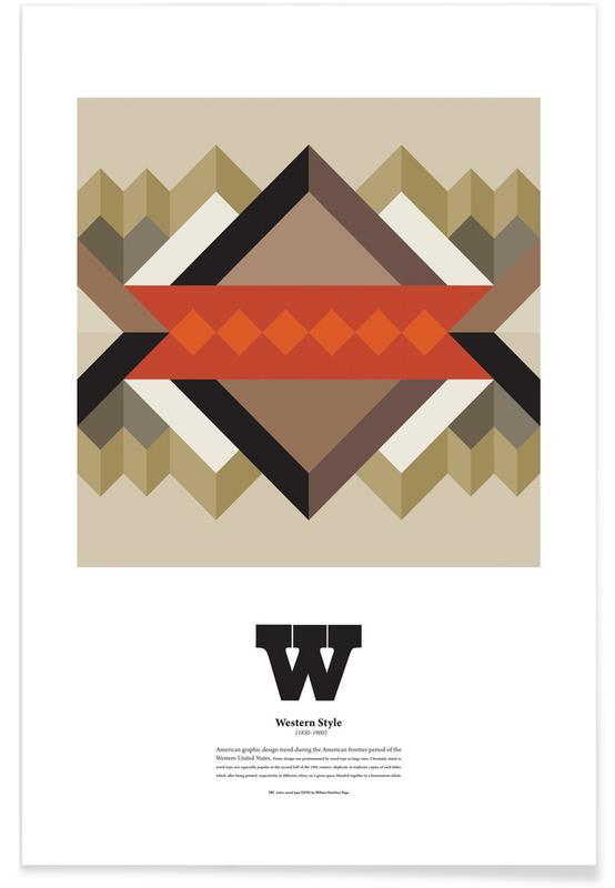 Alphabet & Buchstaben, W - Western Style -Poster