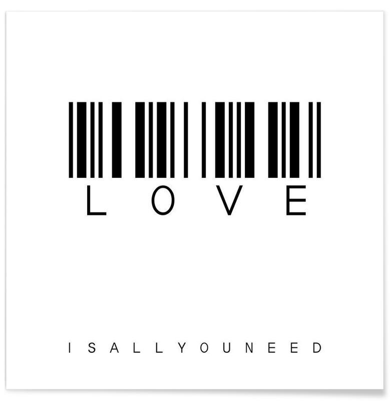 Citations d'amour, Noir & blanc, Motivation, Barcode LOVE affiche