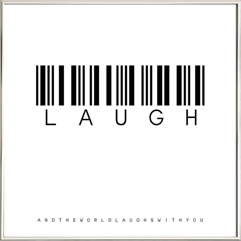 Barcode LAUGH Poster in Aluminium Frame