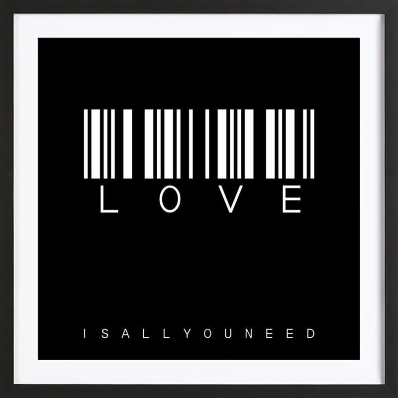 Barcode LOVE Black affiche sous cadre en bois