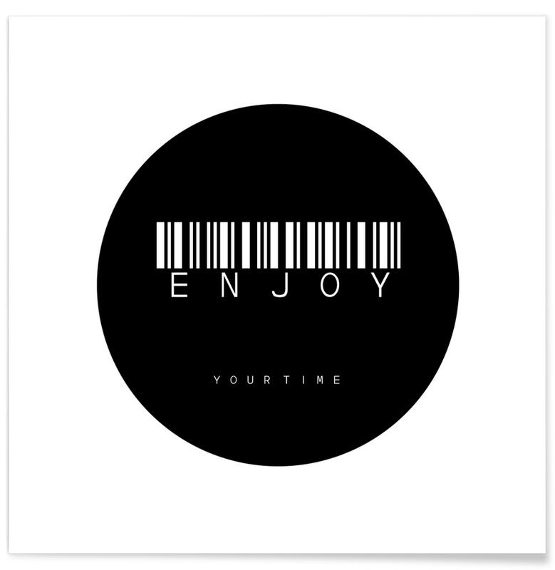 Barcode Enjoy Circle Black -Poster