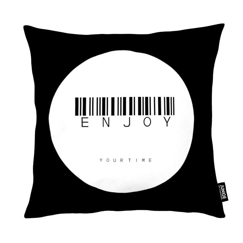Noir & blanc, Citations et slogans, Barcode Enjoy Circle White coussin