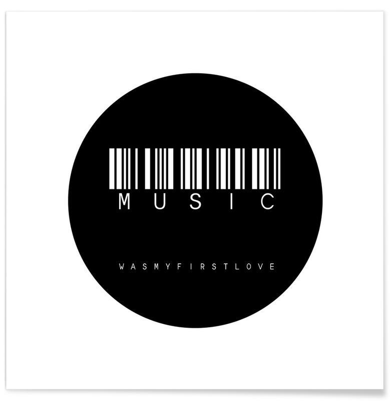 Schwarz & Weiß, Barcode Music Circle Black -Poster