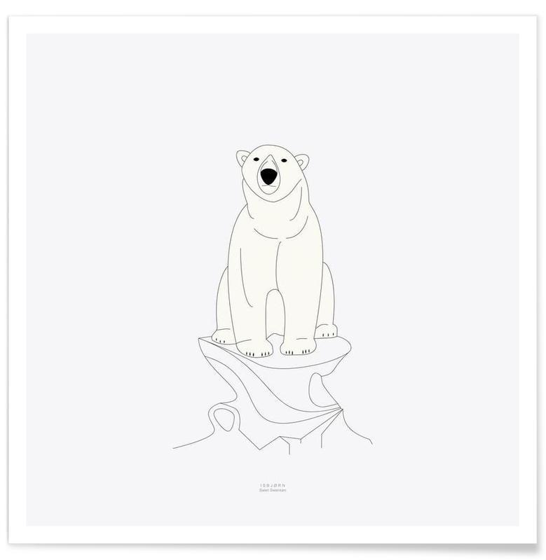 Bears, Black & White, Isbjørn Poster