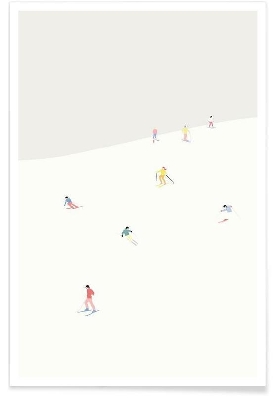 Ski & snowboard, Skibakken affiche