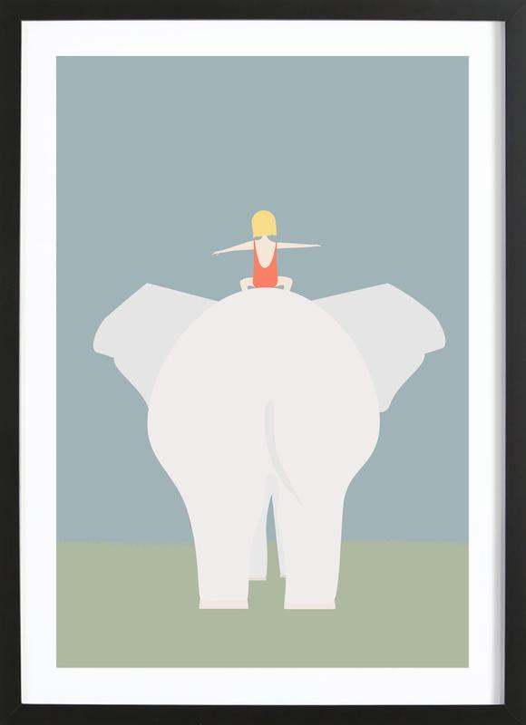 Den Lille Pige Og Elefanten -Bild mit Holzrahmen