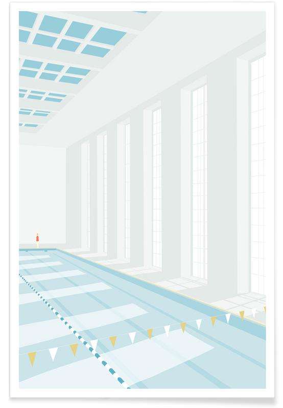 Swimming, Svømmehal Poster