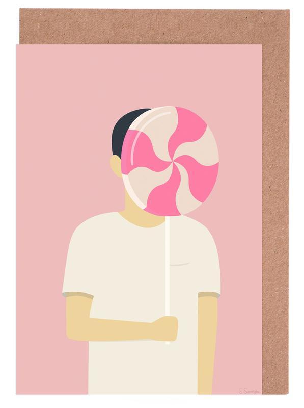 Porträts, Lollipops, Forlystelsespark -Grußkarten-Set