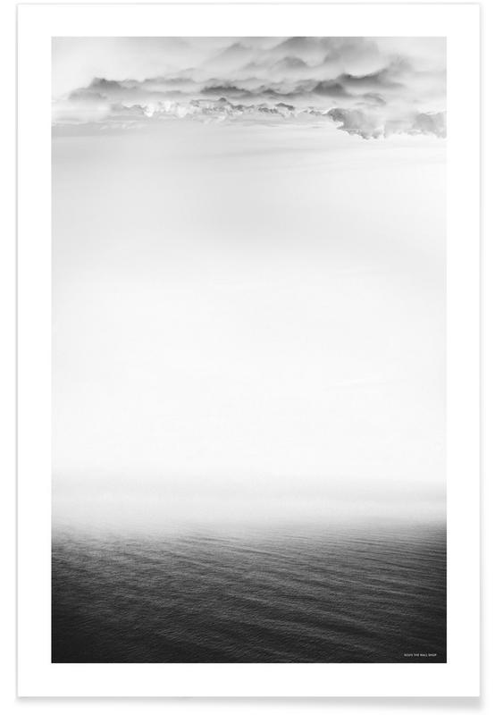 Zwart en wit, Oceanen, zeeën en meren, Lucht en wolken, Storm poster