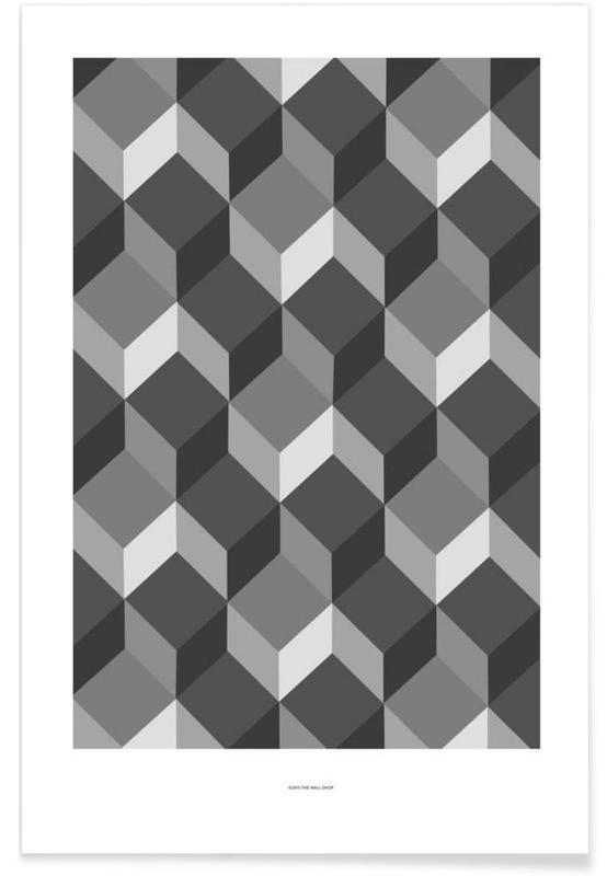 Black & White, Cubes Poster
