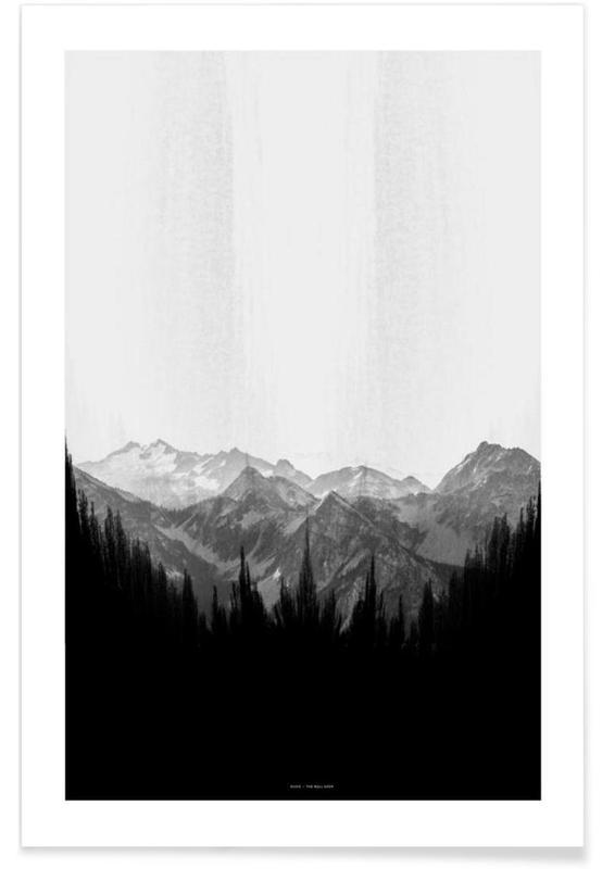 Black & White, Mountains, Brush Mountains Poster