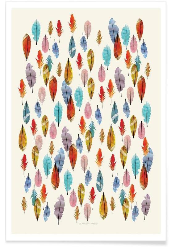 Plumes, Art pour enfants, Feathers affiche