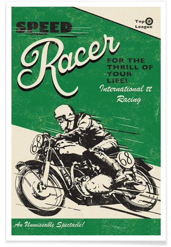 Motos, Speed Racer - Rétro affiche