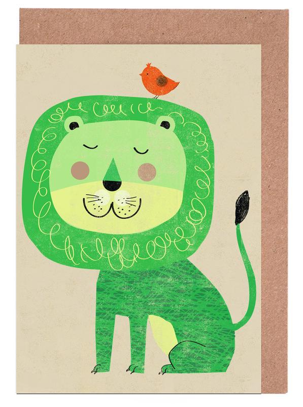 Löwen, Kinderzimmer & Kunst für Kinder, Lion -Grußkarten-Set