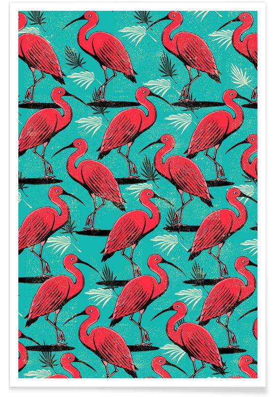 Rétro, Grues, Scarlet Ibis affiche