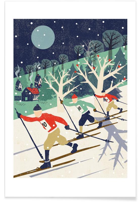 Rétro, Art pour enfants, Ski & snowboard, Skiers affiche