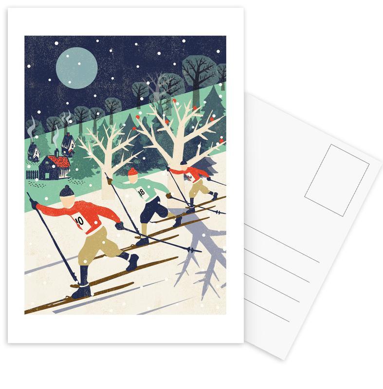 Skiing & Snowboarding, Retro, Nursery & Art for Kids, Skiers Postcard Set