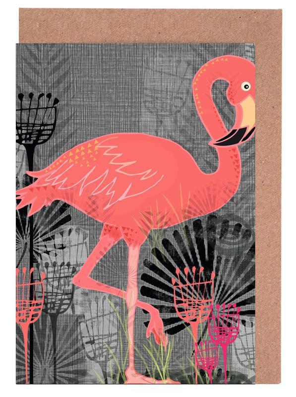Flamingo -Grußkarten-Set