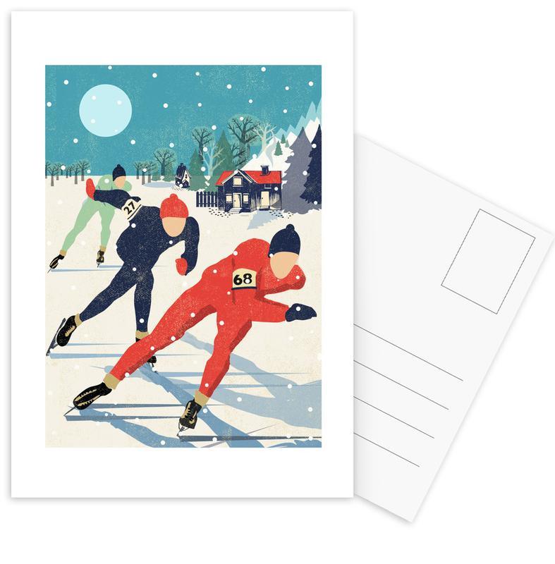 , Speed Skaters Postcard Set