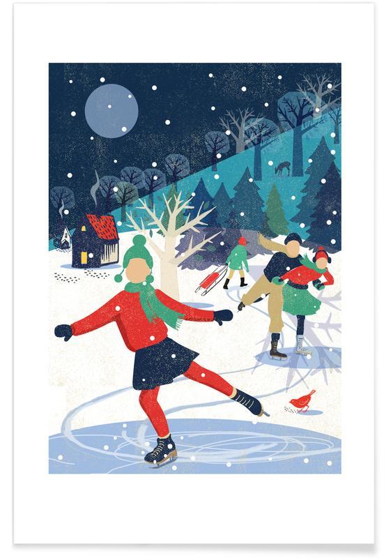 Weihnachten, Kinderzimmer & Kunst für Kinder, Skating Girl -Poster