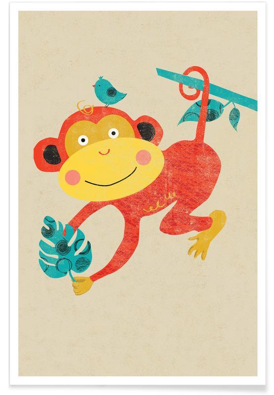 Apen, Kunst voor kinderen, Singe - retro poster