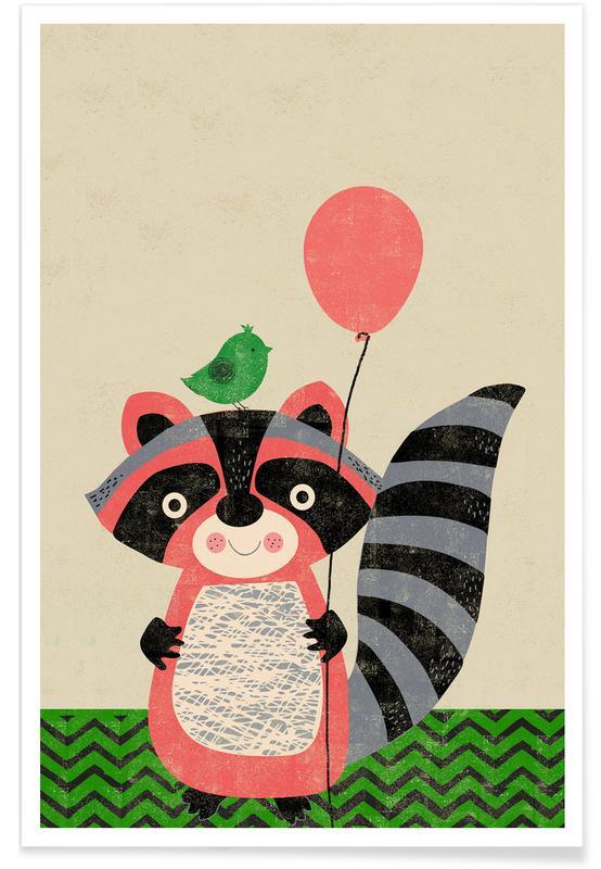 Art pour enfants, Anniversaires, Raton laveur - Rétro affiche