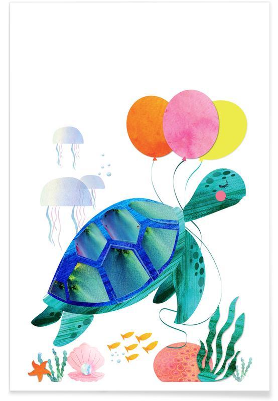 Kunst voor kinderen, Schildpadden, Verjaardagen, Tortue - retro poster