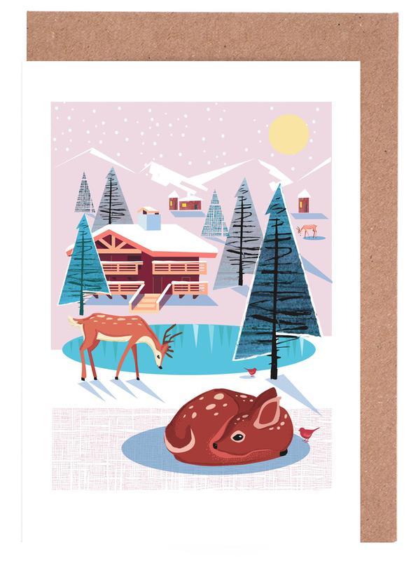 Hirsche, Weihnachten, Kinderzimmer & Kunst für Kinder, Deer -Grußkarten-Set