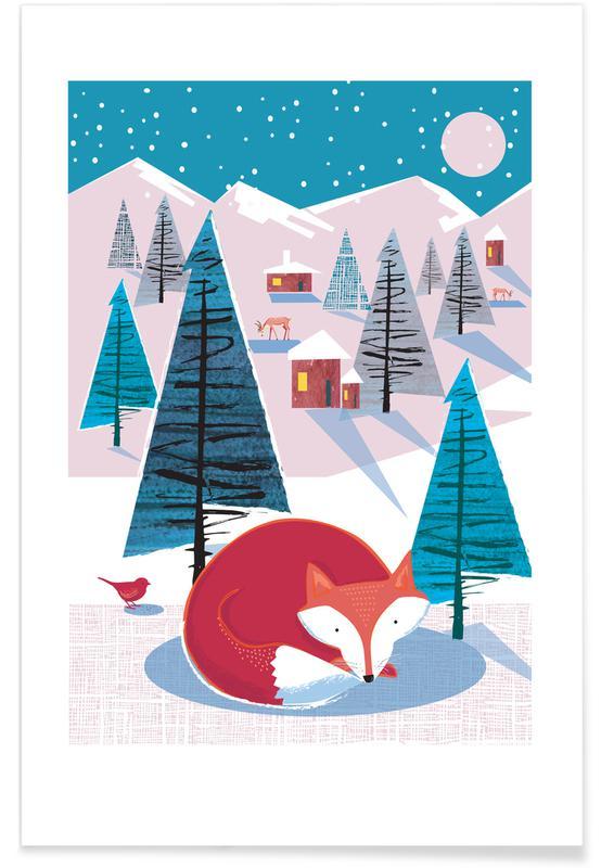 Art pour enfants, Renards, Noël, Fox affiche
