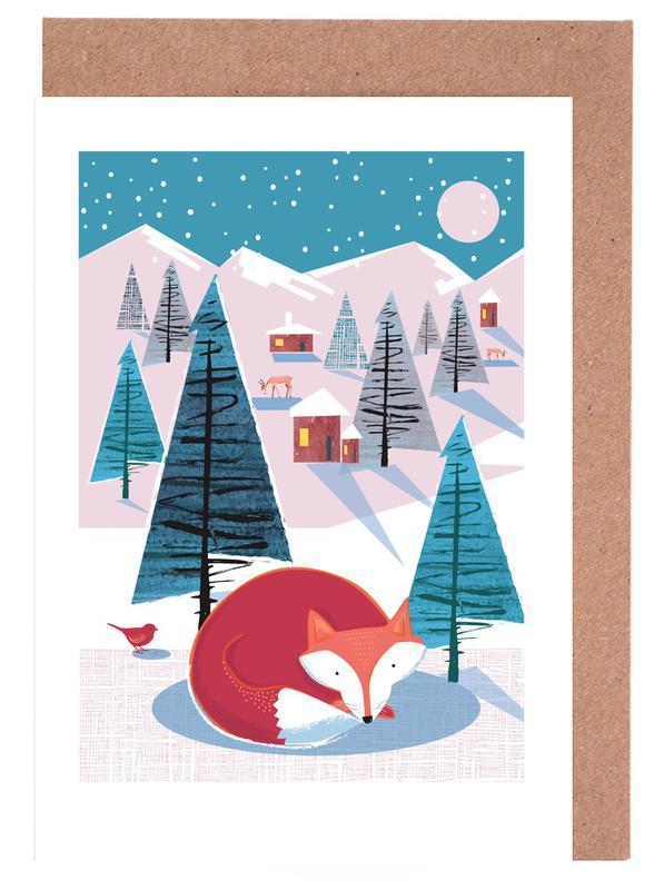 Füchse, Weihnachten, Kinderzimmer & Kunst für Kinder, Fox -Grußkarten-Set