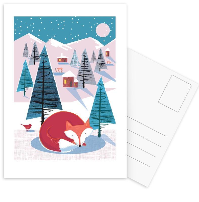 Weihnachten, Füchse, Kinderzimmer & Kunst für Kinder, Fox -Postkartenset