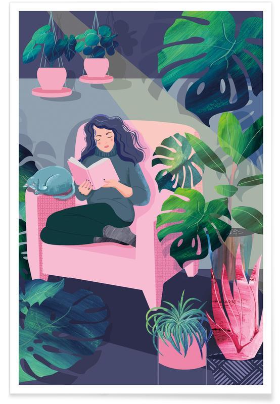 Portraits, Feuilles & Plantes, Reading amongst the Plants affiche