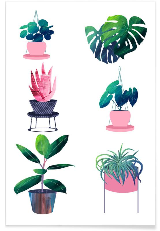 Feuilles & Plantes, Pink and Green Houseplants affiche