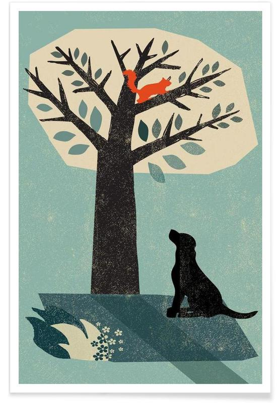 Chiens, Ecureuils, Dog and Squirrel affiche