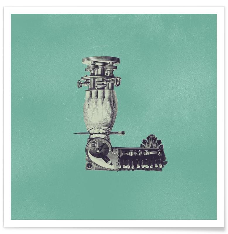 Alphabet & Letters, Retro, Steampunk Alphabet Letter L Poster