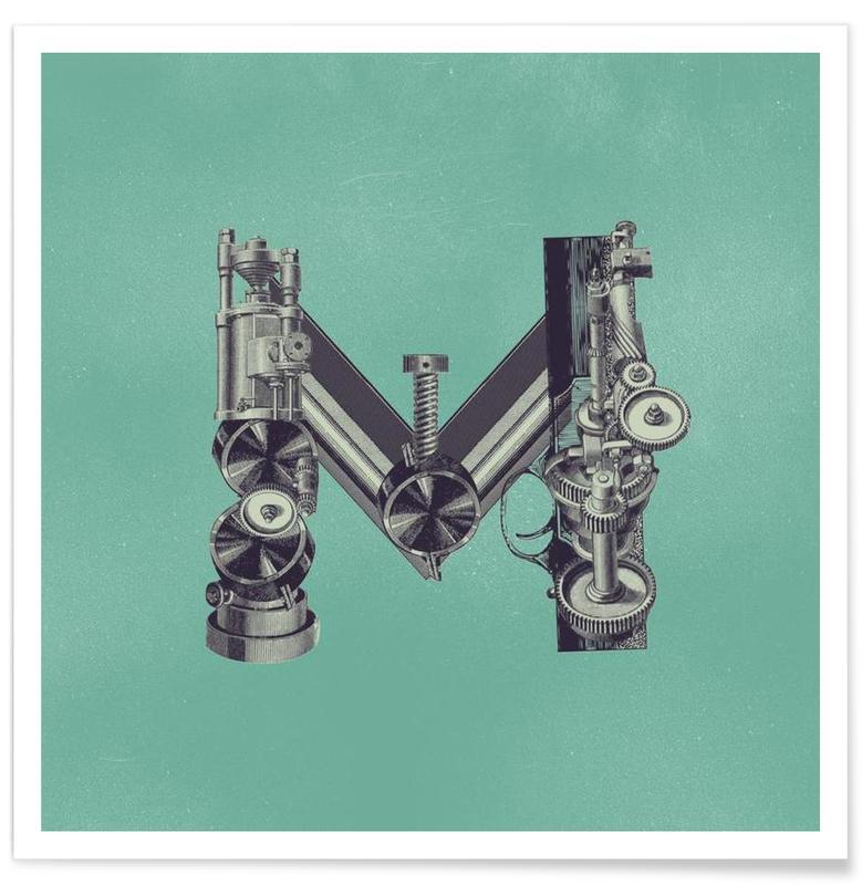 Alphabet et lettres, Rétro, Steampunk Alphabet Letter M affiche