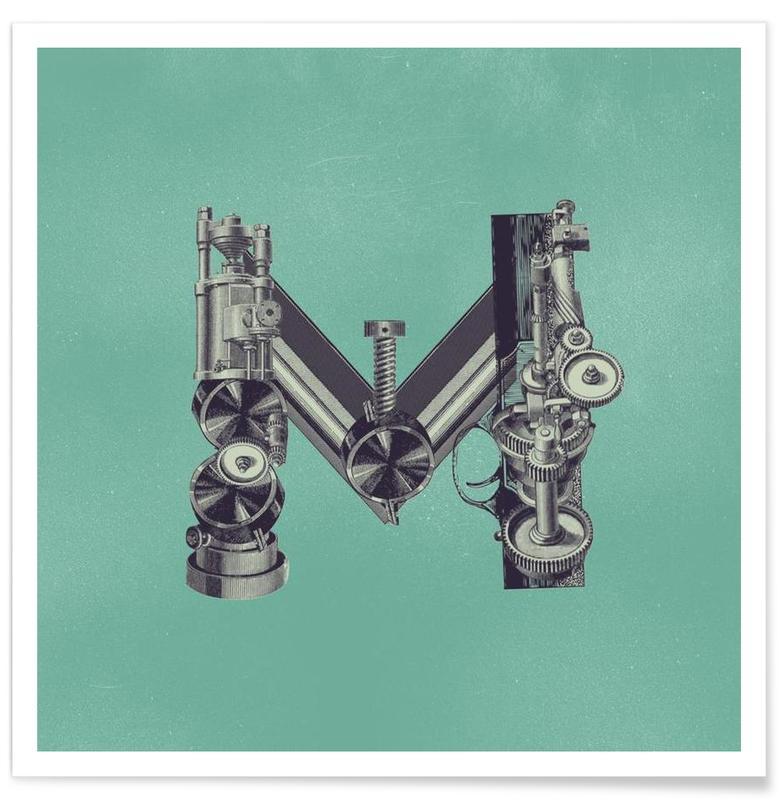 Alfabet en letters, Retro, Steampunk Alphabet Letter M poster