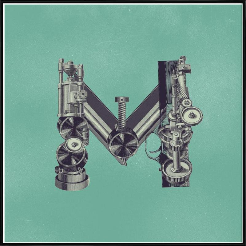 Steampunk Alphabet Letter M Framed Poster
