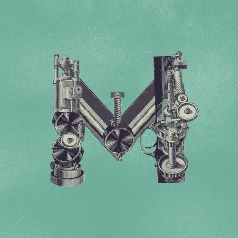 Steampunk Alphabet Letter M Canvas Print