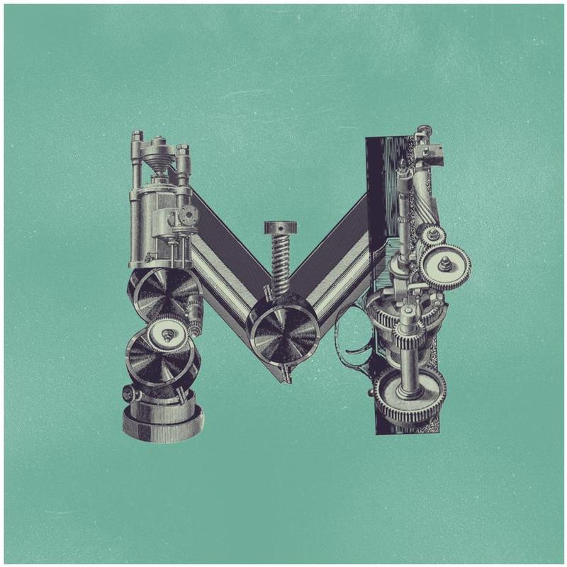 Steampunk Alphabet Letter M Aluminium Print