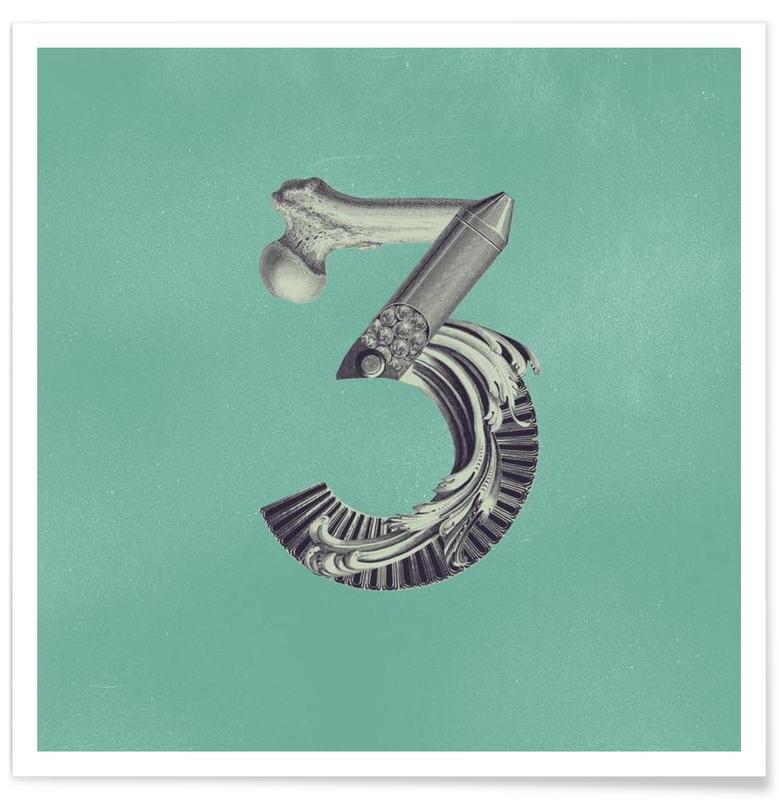 Numre, Retro, Steampunk Alphabet Number 3 Plakat