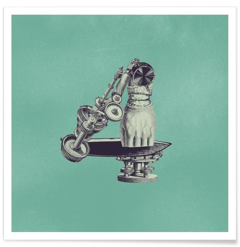 Cijfers, Retro, Steampunk Alphabet Number 4 poster
