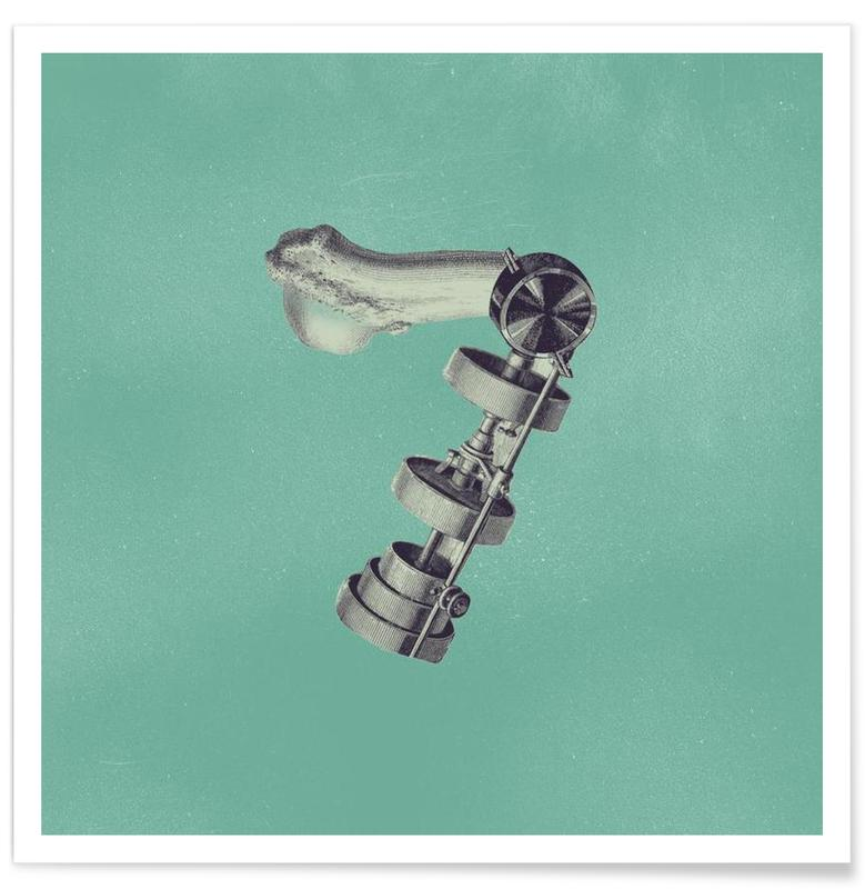 Cijfers, Retro, Steampunk Alphabet Number 7 poster