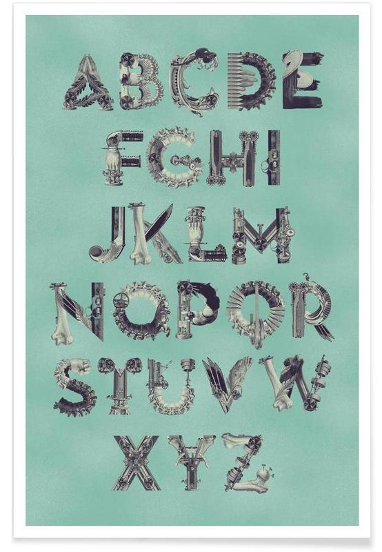 Alfabet en letters, Retro, Steampunk Alphabet A-Z poster