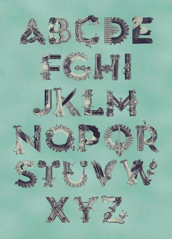 Steampunk Alphabet A-Z Canvas Print